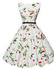 Women's Going out Vintage A Line Dress,Floral Round Neck Midi Sleeveless White Cotton Fall Mid Rise Micro-elastic Medium