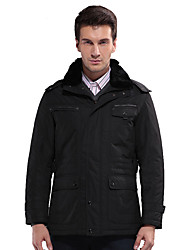 SEVEN Men's Casual/Daily Street chic JacketsSolid Shirt Collar Long Sleeve Winter Black Polyester Thick