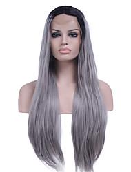 T1b / grigio resistenti al calore della parte anteriore del pizzo sintetico lungo rettilineo capelli di due toni ombre parrucche della