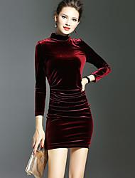 Moulante Robe Femme Décontracté / Quotidien Sexy,Couleur Pleine Col Arrondi Au dessus du genou Manches Longues Rouge Noir Coton Polyester
