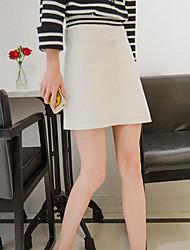Damen Röcke,A-Linie einfarbigLässig/Alltäglich Hohe Hüfthöhe Über dem Knie Reisverschluss Wolle Micro-elastisch Herbst