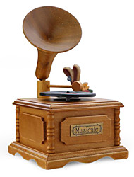 European Style Retro Vinyl Wooden Ornaments/Simulation Of DIY Phonograph Record Music Box