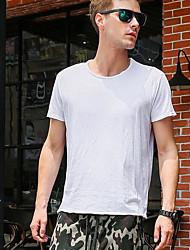 Herren Solide Einfach Lässig/Alltäglich Strand T-shirt,Rundhalsausschnitt Frühling Sommer Kurzarm Weiß Schwarz Baumwolle Dünn