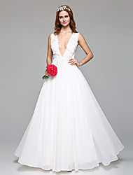 2017 Lanting Bride® A-line Wedding Dress Floor-length V-neck Lace Tulle with Appliques Beading