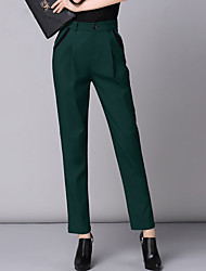 Feminino Harém Chinos Calças-Cor Única Casual Simples Cintura Alta Botão Algodão Náilon Elastano Micro-Elástico Outono