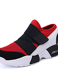 Men's Athletic Shoes Spring Fall Comfort Fabric PU Outdoor Casual Flat Heel Magic Tape Black Black and Red Black and White