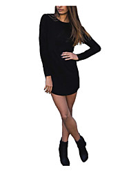 Women's Going out Sexy Bodycon Dress,Solid Round Neck Midi Long Sleeve Black Polyester Spring Low Rise Inelastic Thin