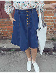 Women's A Line Solid Denim Skirts,Going out / Casual/Daily / Party/Cocktail Sexy / Cute / Chinoiserie Mid Rise Knee-length Zipper Cotton