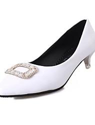 Women's Heels Spring Fall Comfort PU Office & Career Casual Low Heel Crystal Black Pink White Walking