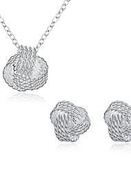 Fashion Popular OL Earrings Necklace Pendant Two-piece Silver Plated Jewelry Set Tennis Geometry Simple and Popular Women