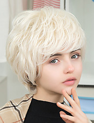 European American style Oblique Bangs Short Natural Wavy Huamn Hair Wigs