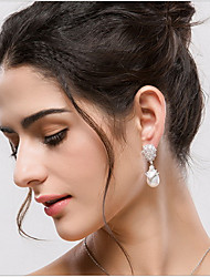 Imitation Pearl Drop Earrings Jewelry Women Party Daily Casual Zircon 1 pair As Per Picture