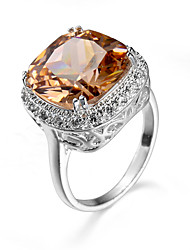 Champagne Color Big Zircon Engagement Rings Silver-Plating Luxury Rings For Women Jewelry Popular Girl Ring 95331