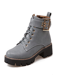 Women's Boots Spring Fall Winter Comfort Ankle Strap PU Athletic Casual Chunky Heel Buckle Zipper Lace-up Black Yellow Light GreyTrail