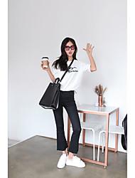 Femme Boot Cut Jeans Pantalon,Street Chic Sortie Couleur Pleine Taille Haute fermeture Éclair Coton Micro-élastique Sangle Automne