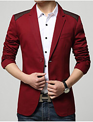 Men's Going out Casual/Daily Street chic Spring Summer Blazer,Solid Shirt Collar Long Sleeve Red Black Yellow Others
