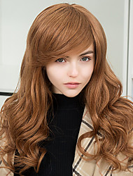 Fashion Comfortable Oblique Bangs  Long Wavy Human Hair Capless Wigs