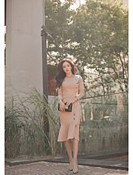 Women's Casual/Daily Simple Trumpet/Mermaid Dress,Solid Round Neck Midi Long Sleeve Beige Cotton Fall Winter High Rise Micro-elastic
