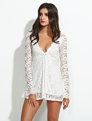 Women's Lace Solid/Lace White Dress,Sexy Deep V Long Sleeve Skater(Belt excl.)