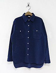 Women's Going out Casual/Daily Sexy Cute Shirt,Solid Boat Neck Long Sleeve Blue Cotton Thin