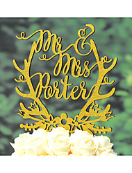 Wood Wedding Cake Topper Personalized with Last Name Hand Painted in Glitter Gold or Silver Color