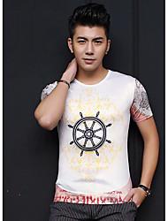 Herren Solide Geometrisch Einfach Lässig/Alltäglich T-shirt,Rundhalsausschnitt Frühling Sommer Kurzarm Blau Weiß Seide Kunstseide Mittel