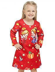 Girls Fashion Autumn New School Safflower Christmas Cartoon Cinderella Fairy  Red Princess Dress