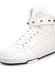 Women's Sneakers Spring Fall Comfort PU Casual Flat Heel Beading Lace-up Black White Walking