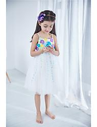 Princesse Mi-long Robe de Demoiselle d'Honneur Fille - Coton Sans Manches Bijoux avec Appliques Noeud(s)