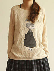 Women's Casual Cute Doll Print Round Long Sleeve Loose Sweaters