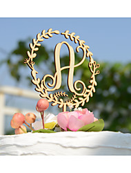 Natural Wood Wedding Cake Topper Custom with Monogram Initial with no Painting