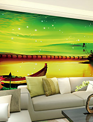JAMMORY Art DecoWallpaper For Home Wall Covering Canvas Adhesive required Mural Water Boat Night View XL XXL XXXL