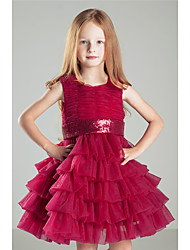 Princess Knee-length Flower Girl Dress - Cotton Crepe Sleeveless Jewel with Bow(s) Pick Up Skirt