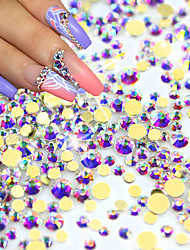 1440pcs/pack New Nail Art Glitter Rhinestones AB Gold 3d Glass Crystal Flat back For Nail Salon Decoration NJ246