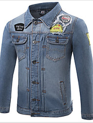 Men's Casual/Daily Simple Jackets,Print Long Sleeve Blue Cotton