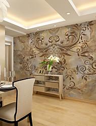 Floral Art Decó 3D Fondo de pantalla Para el hogar Contemporáneo Revestimiento de pared , Lienzo Material adhesiva requerida Mural ,