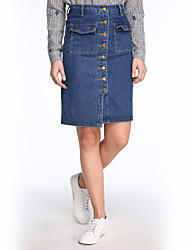 Women's Slim Breasted Denim Skirt