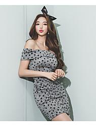 2016 spring and summer Korean women tight collar strapless dress was thin package hip skirt dress Tee