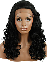 Heat Resistant Synthetic Lace Front Wig Loose Wave Dark Black Color Synthetic Hair Fiber Wig