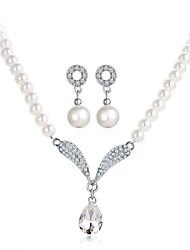 Ensemble de bijoux Perle imitée Strass Imitation de perle Perle Forme de Coeur Blanc Set de Bijoux Soirée 1set1 Paire de Boucles