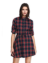 Women's Plus Size Going out Cute A Line Dress,Plaid Stand Above Knee ¾ Sleeve Red Cotton Polyester Fall Mid Rise Micro-elastic Medium