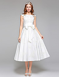 LAN TING BRIDE A-line Wedding Dress Simply Sublime Tea-length Jewel Lace Satin with Beading Bow Lace
