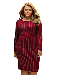 Women's Big Girls Rhinestone Stripes Long Sleeve Dress