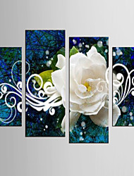 Canvas Set Abstract Floral/Botanical Classic European Style,Four Panels Canvas Any Shape Print Wall Decor For Home Decoration