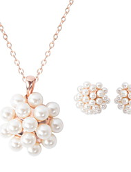 Women Wedding Party Luxury Round Pearl Ball  Necklace Earrings Two-piece