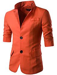 Blazer Hommes,Couleur Pleine Décontracté / Quotidien Plage simple Eté Manches ¾ Revers Cranté Bleu Blanc Noir Orange Coton