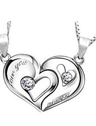 Necklace Chain Necklaces Jewelry Casual Heart Basic Design Heart Sterling Silver Couples 1 pair Gift Silver