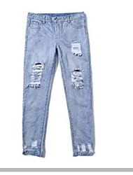 Feminino Tamanhos Grandes Delgado Jeans Chinos Calças-Cor Única Happy-Hour Casual Vintage Activo rasgado Cintura Alta Zíper Algodão