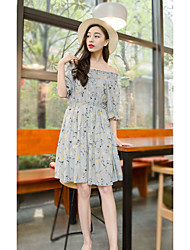 Women's Casual/Daily Simple Cute Street chic Swing Dress,Geometric Boat Neck Knee-length ½ Length Sleeve White Gray Others Summer Low Rise