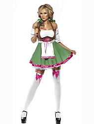 Costumes de Cosplay Costume de Soirée Fête d'Octobre/Bière Serveur / Serveuse Costumes de carrière Cosplay de Film Vert Couleur Pleine